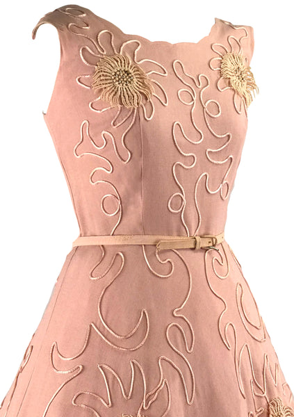 Vintage 1950s Pink Linen Applique Flowers Dress- New!