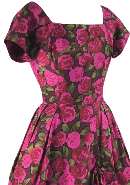 Vintage Designer 1950s Magenta Silk Roses Dress- New! (RESERVED)