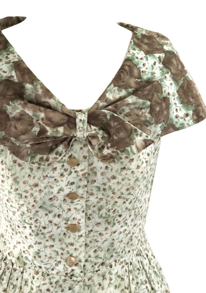 1950s Green and Chocolate Roses Border Print Dress - New!