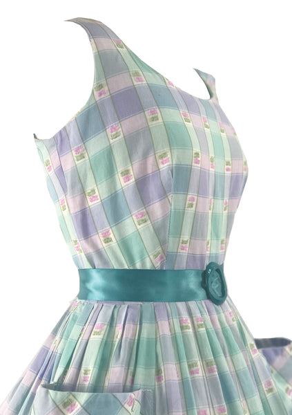 Vintage 1950s - 1960s Pastel Plaid Check Cotton Dress - New!