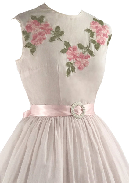 1950s Pink Roses Embroidered Cotton Dress- New!