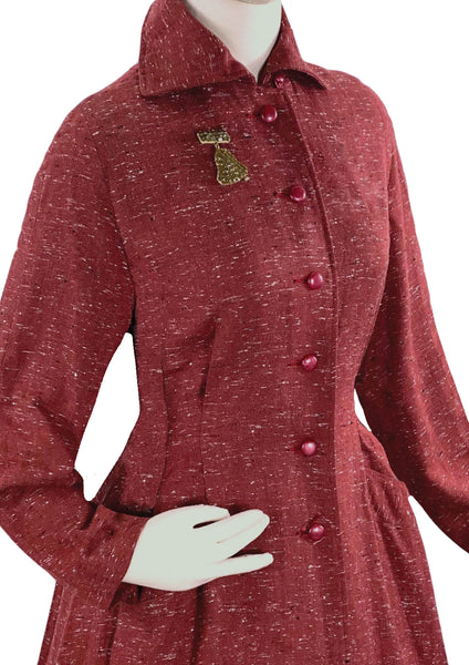 Stylish 1940s Cranberry Red Flecked  Princess Coat - New!