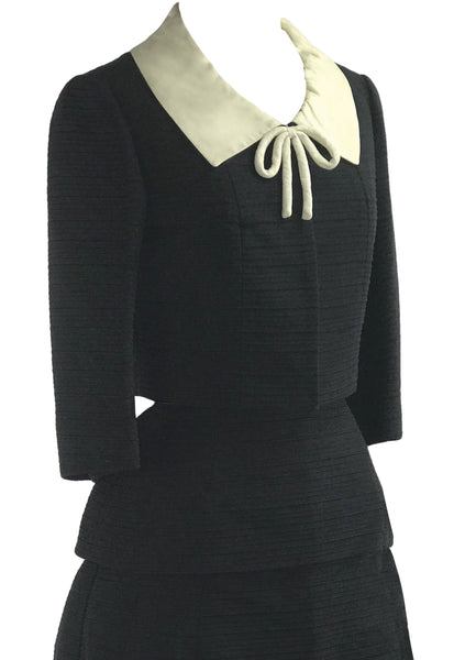 1960s Rare Lilli Ann Black and Cream Ribbed Gabardine Suit - New!