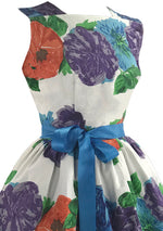 Vintage 1950s Bold Floral Cotton Dress- New!