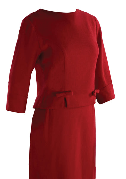 Vintage 1960s Brilliant Red Wool Suit- New!