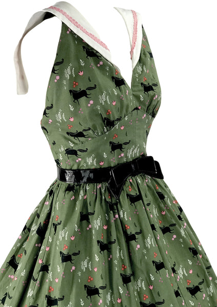 1970s Green Cotton Halter Novelty Horses Dress - New! (