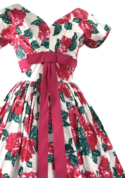 Vintage 1950s Large Magenta Roses Cotton Dress - New!