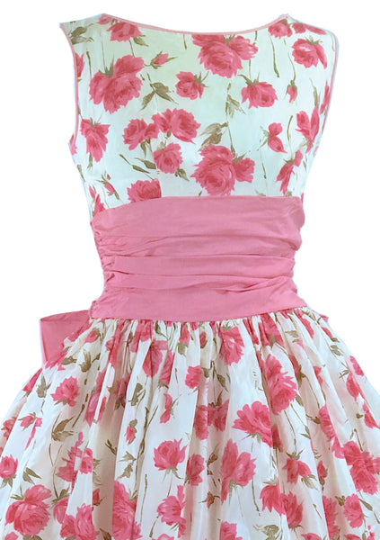 Vintage Late 1950s Pink Roses Taffeta Party Dress - New!