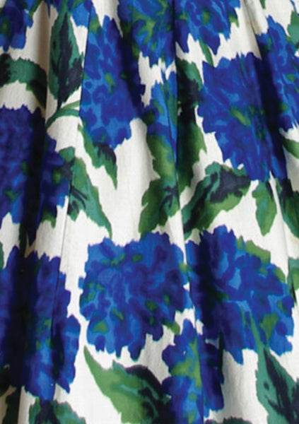 Striking 1950's Blue Roses Print Cotton Dress - New!