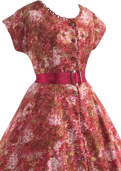 Vintage 1950s Impressionist Print Cotton Dress- New!