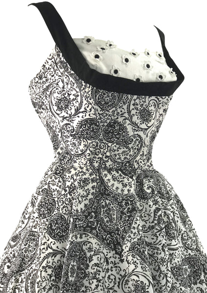 Vintage 1950s B&W Paisley Cotton Sundress - New! ()N HOLD)