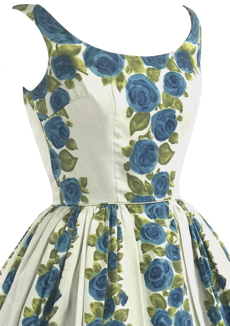 Vintage 1950 Blue Roses Column Print Cotton Dress- New!