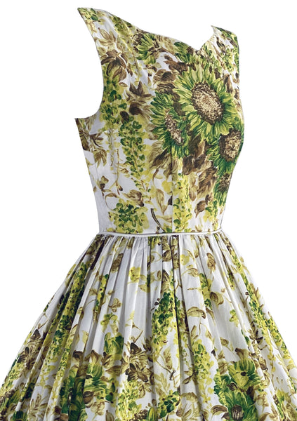 Gorgeous 1950s Giant Sunflower Print Cotton Dress- New!