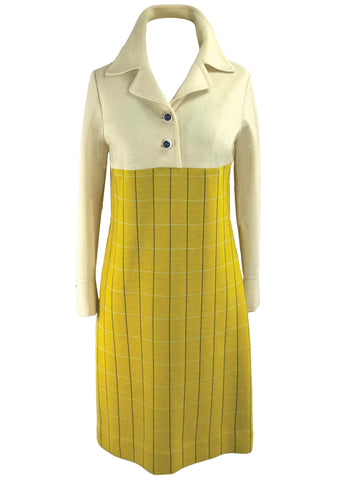 Vintage 1970s Golden Yellow and Cream Wool Ensemble - New!