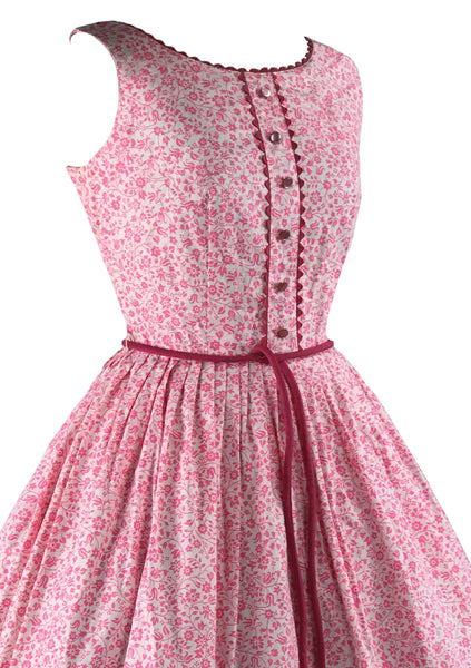 Late 1950s Early 1960s Pink & White Floral Dress- New!