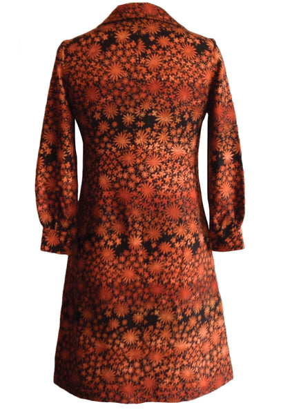 Original 1960s Autumn Floral Wool Dress  - New!