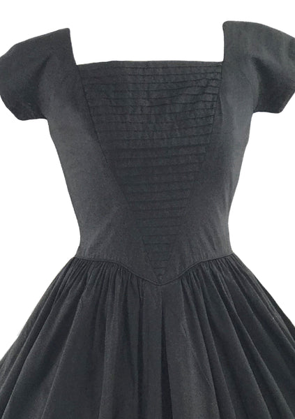 Vintage 1950s Black Cotton Jerry Gilden Dress - New!