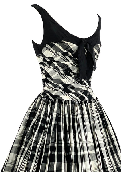 Striking 1950s B&W Plaid Taffeta Dress- New!