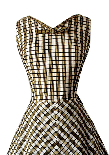Vintage 1950s Plaid Woven Wool Designer Dress - New!