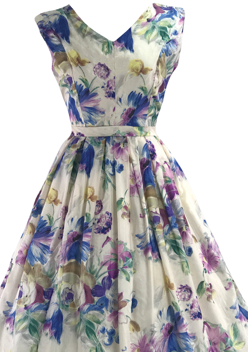 Vibrant 1950s Bouquet Floral Nylon Dress- New!