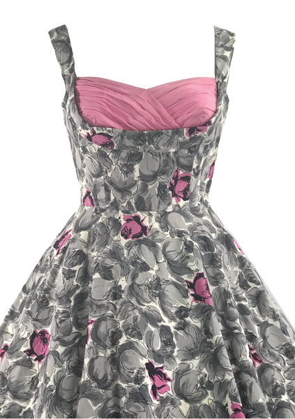 Stunning 1950s Pink & Grey Roses Cotton Dress  - New!