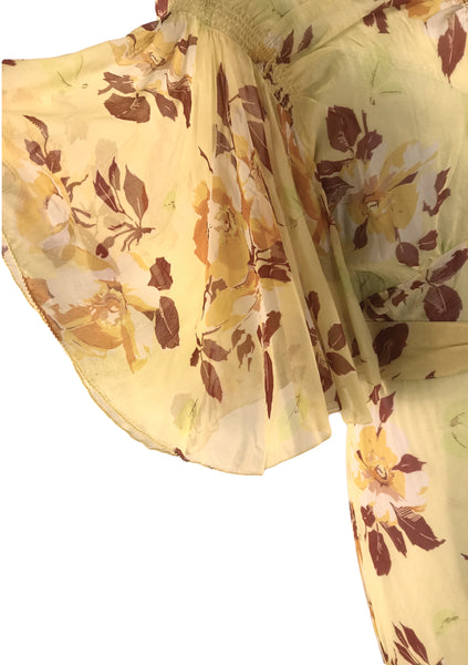 Gorgeous 1930s Magnolia Floral Silk Chiffon Gown Party Dress- New!