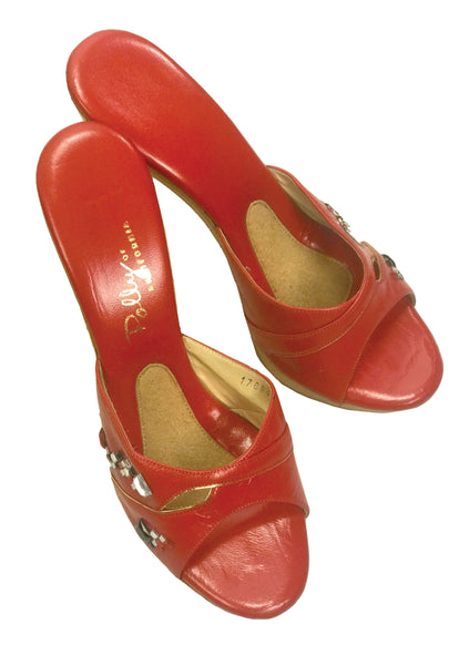 Rare 1960s Red Jewelled Polly of California Shoes - New! (ON HOLD)