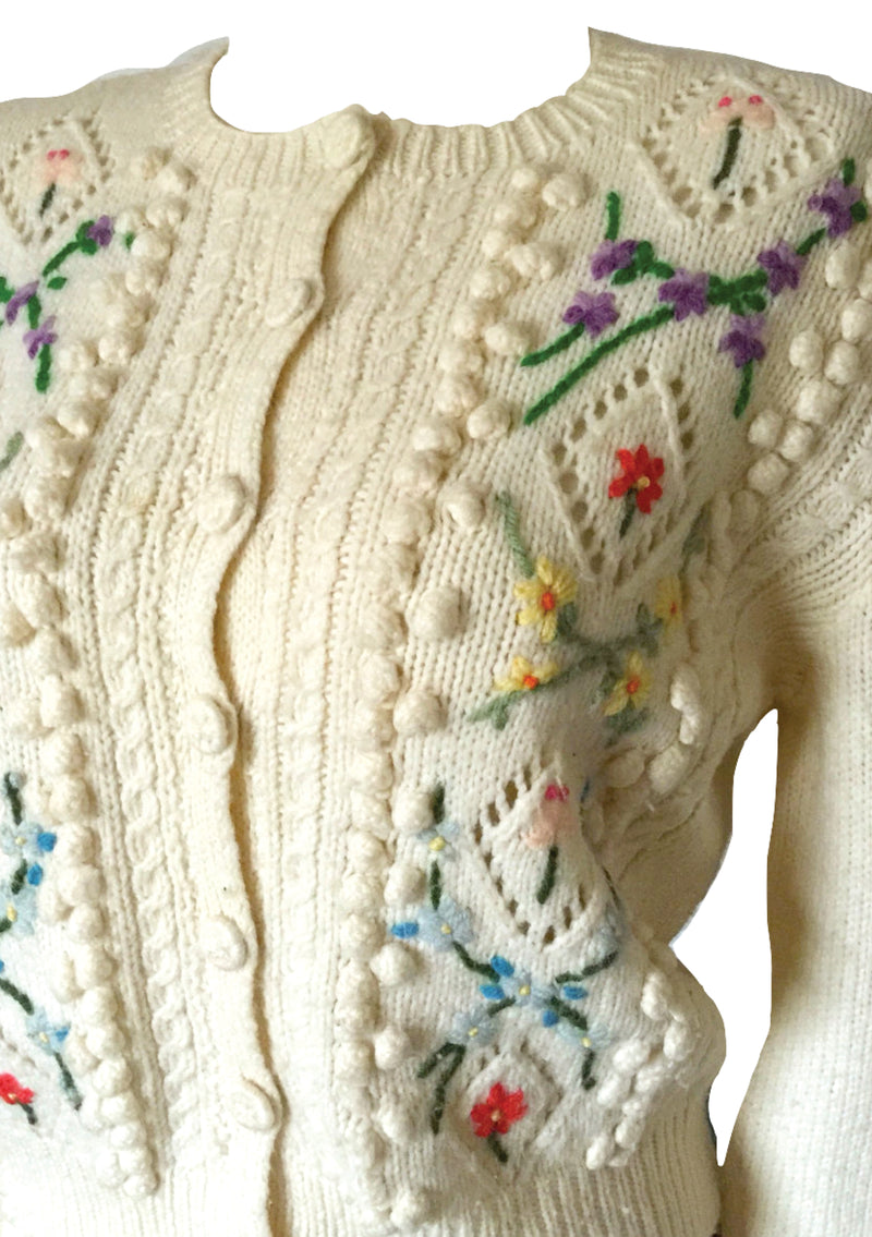 Vintage 1940s Embroidered Cream Cardigan  - New!