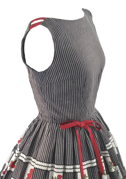 1950s Black & Grey Stripe Dress with Strawberry Border- New!