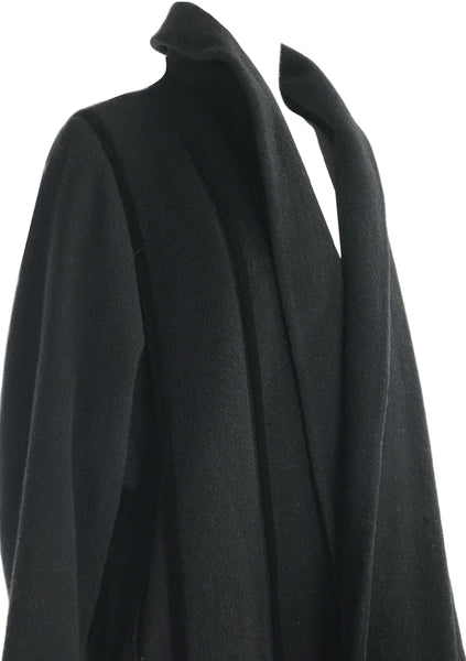 Vintage 1950s Black Wool Designer Coat with Velvet Stripes - New!