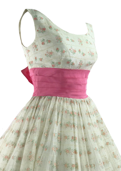 Vintage 1950s Pink Rosebud Flocked Party Dress - New!