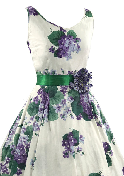 Vintage 1950s Violets Print Cotton Dress- New! (RESERVED)
