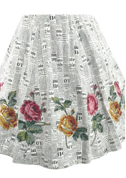 1950s Novelty Newsprint Skirt with Rose Appliques - New!