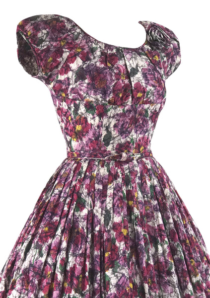 1950s Painterly Floral Cotton Dress With 3D Flower- New!