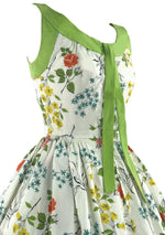1950s Rainbow Coloured Rose Floral Cotton Dress- New!