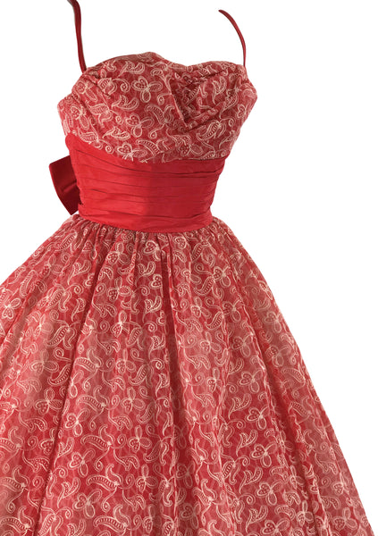 Vintage 1950s Red & White Flocked Party Dress - New!