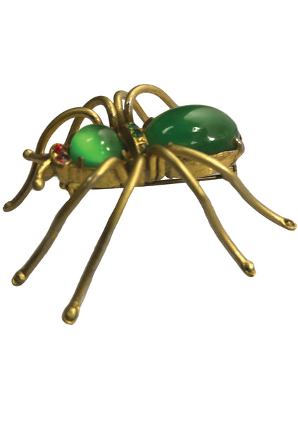 Vintage 1940s Green Art Glass & Brass Spider Brooch- New!