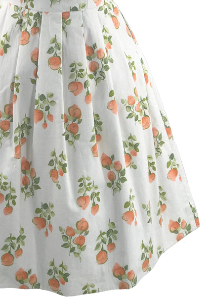 Early 1960s Orange Floral Dress on White Cotton- New!