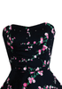 1950s Pink Floral on Black Party Dress Ensemble - New!