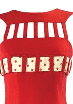 1950s Red Wiggle Dress with Birdcage Neckline - New!