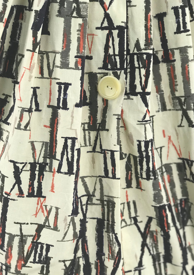Late 1950 Early 1960 Latin Numerals Novelty Print Cotton Dress - New!