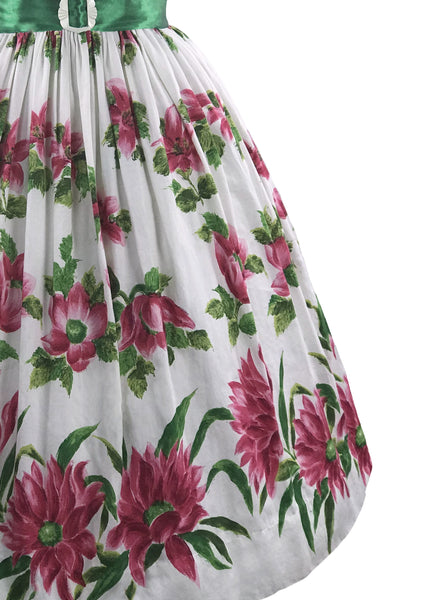 Lovely 1950s Magenta Flowers Cotton Dress- New!