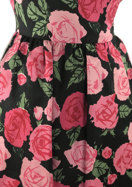 Vintage Late 1950s Pink Roses Silk Dress - New!