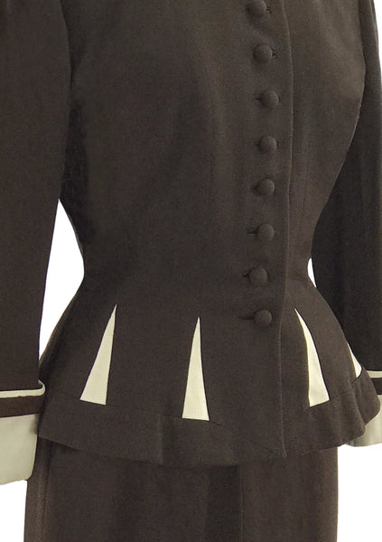 Spectacular 1950s Brown Wool Lilli Ann Suit - New!