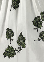 Late 1950s Early 1960s White Cotton Ivy Print Dress- New!