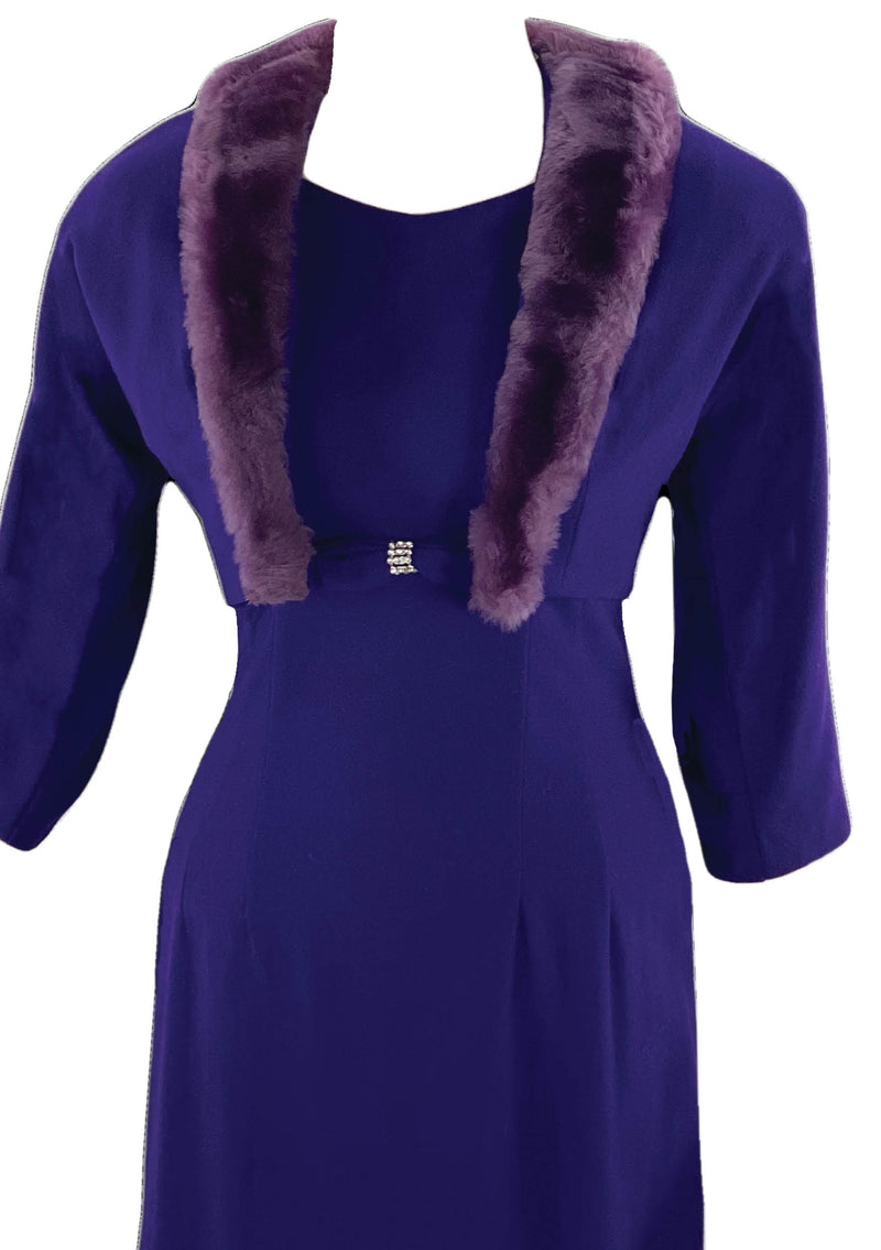 Vintage 1950s Purple Wool Dress Ensemble- New! (ON HOLD)