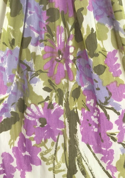 1950s Jerry Gilden Designer Lilac Border Floral Dress- New!