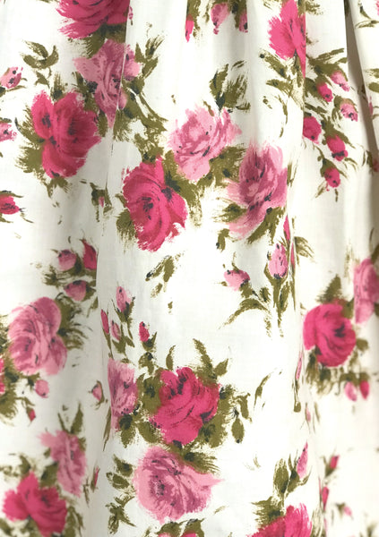 Vintage 1950s Pink Roses and Rosebuds Cotton Dress  - New!