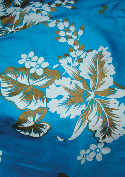 Late 1950s Blue Hawaiian Polished Cotton Sundress - New!