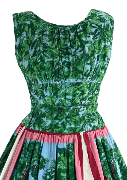 Stunning 1950s Scenic Novelty Print Cotton Dress- New!
